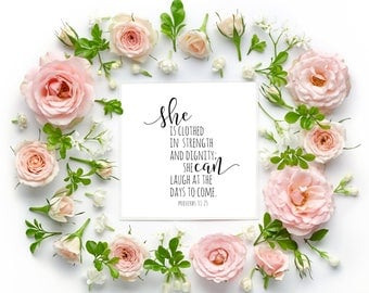 She Is Clothed In Strength and Dignity, Bible Verse Print, Proverbs 31:25, Nursery Print, Nursery Quote, Girls Nursery Decor, Nursery Quote