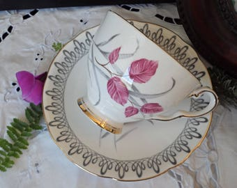Royal Stafford Teacup and Saucer, Pink Leaves, Grey Swirl, Gold Trim, Fuchsia Leaves, Gold Trim, Gold Accent Foot, Mother's Day Gift