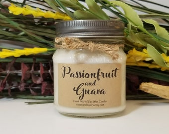 8oz Mason Jar Candle - Soy Candles Handmade - Fruit Candle - Hostess Gift - Passionfruit and Guava - Scented Candle - Bridesmaid Gift
