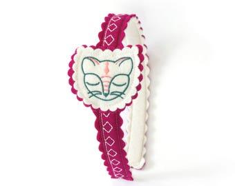 Kitty Headband  / Wool Felt Headband / Cat Headband / Girl's Headband / Hair Accessory / Embroidered Headband