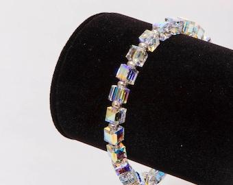 Swarovski®Crystal Cube Bracelet, Gold or Silver Heshi Beads, Clasp or Elastic Choice, Choice of Gold or Silver Heshi Beads