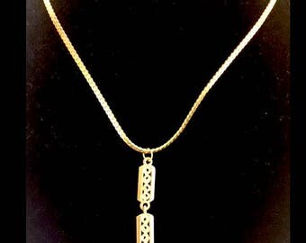 Faux Gold necklace with Cartouche style pendants necklace