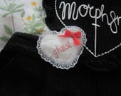 Ghost Embroidered Lacy Heart Brooch