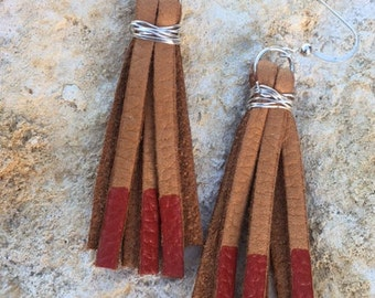 Red Tipped Leather Fringe Ear Rings