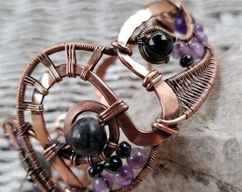 Cuff Bracelet, Wirewrapped Copper, gemstone amethyst, jasper, black onyx, agate
