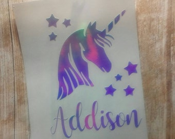 Unicorn Decal/Unicorn Monogram/ Monogram/Decal/ Vinyl Decal/ Horse Decal/Holographic Decal/Yeti Cup Decal/Rainbow Unicorn Decal