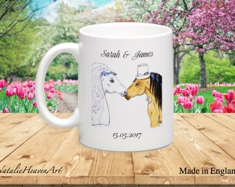 Horse Wedding Mug, Wedding Gift for Horse Lovers, Country Wedding Present, Whimsical Animal Wedding, Bride to Be Gift, Bride and Groom Gift