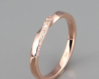 14k Rose Gold Mubius Ring set with Diamonds | Diamonds Mobius Ring | 14k Rose Gold Mobius Wedding Ring set with Diamonds