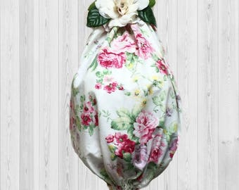 Shabby decor, cottage chic, kitchen decor, kitchen storage, home decor, grocery bag holder, shopping bag holder, hostess gift, kitchen gift