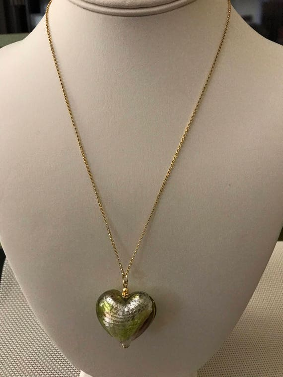 Murano Glass Puffy Heart Necklace on Goldfilled Chain Green, Brown, Peridot
