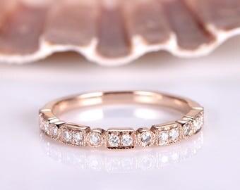 Milgrain Diamond Wedding Band 14k Rose Gold Half Eternity Ring Diamond Engagement Ring Stacking Matching Band Marquise Art Deco Anniversary