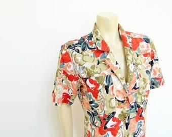 Free Shipping* Jungalow Blouse, UK12, 1980s, Vintage Shirt, Ladies Clothing, Floral Shirt, Summer Shirt, Festival Clothing, Women's Vintage