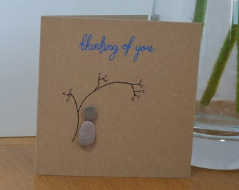 Pebble Art Thinking of You Card, Sympathy Greetings Card, Pet bereavement Card, Grief or Loss Card, Rememberance Card,