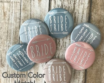 Custom Color Match! Bride Tribe, Bridal Shower, Bachelorette Party, Swatch Buttons - 6-Pack or 10-Pack!