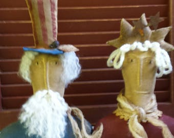 Primitive Uncle Sam / Liberty Shelf Sitter, Patriotic Centerpiece, Rustic Americana Cupboard Doll, Year Round Americana Shelf Sitter,