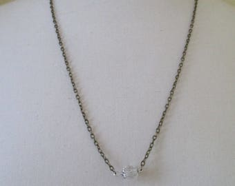 bronze metal chain and White Pearl Necklace
