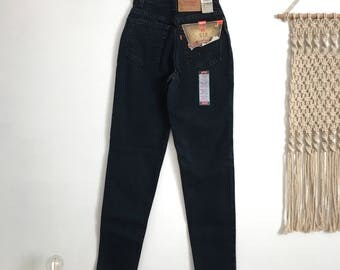 New vintage Levis 512 black high waisted jeans, size 24, deadstock, new with tags