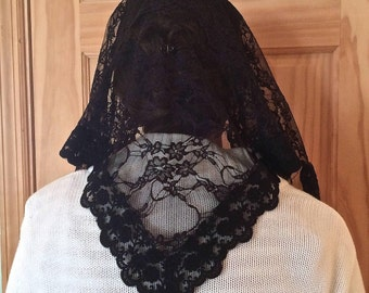 Standard Adult Handmade Catholic Chapel Veil: Black Floral Lace with Embroidered Trim in Triangle Style