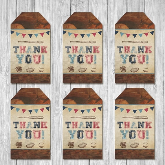 Vintage Sports Baby Shower Party Tags - Baby Shower Party Favor Tags - Sports Baby Shower - All Star Baby - Baseball Baby Shower Favors