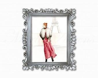 Original Watercolor Painting, Paris Fashion Illustration, Eiffel Tower Art, Original Artwork, Home Decor, Office Decor, Gifts for Her, 8x10