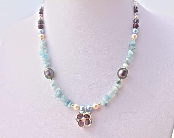 Bridal Bohemian chic swarovski, semi-precious stones precious pearls and Crystal pendant