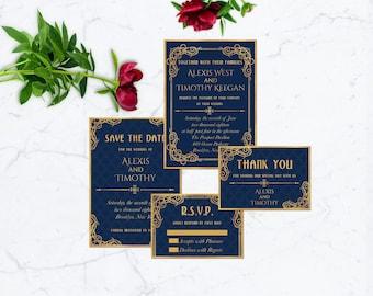 Royal Blue and Gold Wedding Invitation, PRINTABLE Wedding Invitation Suite, Navy Gold Wedding Invitation, Luxury Wedding Invitation, CLASSIC