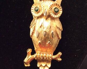 Vintage Gold Tone Owl Brooch Pin with Green Rhinestone Eyes, Owl Brooch On limb