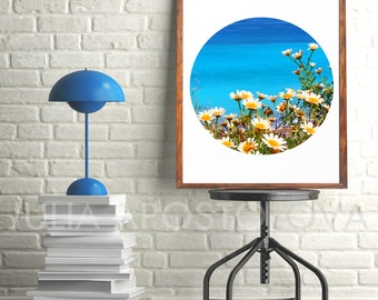 Daisy Flowers and Turquoise Waters, Photography, Tropical Coastal Decor, Summer, Wall Art, Circle Print, Relax Photo, Zen, Greek Printable