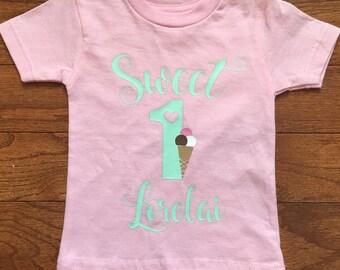 Girl's Ice cream birthday shirt