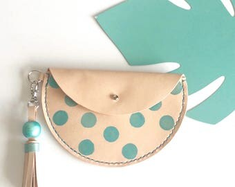 Luna coin purse, veg tanned leather pouch with leather tassel, statement purse, hand- painted bag.