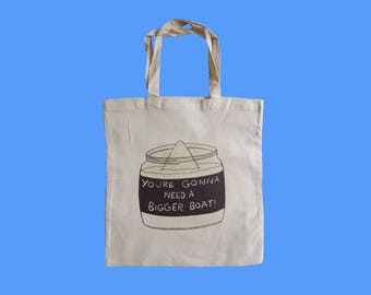 Natural Calico Tote Bag - Cult Movie Tote - Kevin Smith's 'Clerks'(1994) - Jaws' 'You're Gonna Need A Bigger Boat' Movie Quote