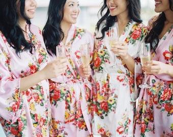Bridesmaid Robes Floral Satin Robes Bridal Wedding Robe Bride Silk Kimono Robe Bridesmaid Gift Bridal Party Robes Floral Satin Wedding Robes