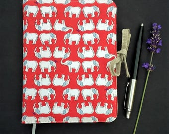 Elephant-fabric covered notebook,  elephant organiser, travel journal, diary, sketch book, gift for her, gift for a friend, small gifts