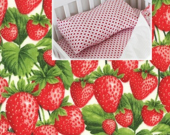 Strawberries Pillow Case Strawberries Crib Bedding Pillow Case Sham Berries 100% Cotton Strawberries Nursery Strawberries  Toddler Bedding