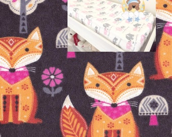 Flannel Woodland Changing Pad Cover Boy Girl Nursery Foxes Contoured Changing Pad Cover Timber Bedding