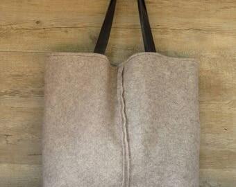 Wool bag, shoulder bag, fabric bag, handmade bag, fabric and leather bag, big bag, cloth bag, handmade bag