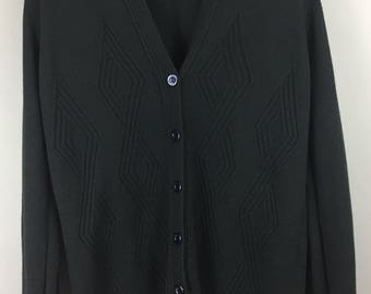 JAEGER vintage dark green wool blend cardigan M