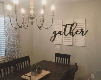 GATHER cutout, wood gather sign, farmhouse decor, cottage decor, family wall gather, kitchen, dining room, gallery wall ideas, craft words
