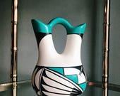 Vintage Native American Wedding Vase / Indian Vessel / Southwestern Pottery Vase