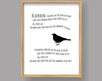 Blackbird, Printable Beatles Blackbird song lyrics art poster Home decor (#320)