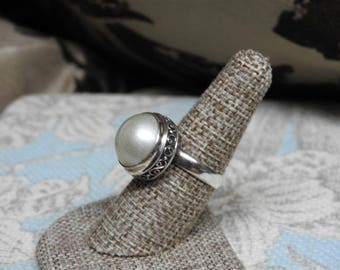 stunning vintage sterling silver and large freshwater pearl adjustable ring size 7 1/2-9