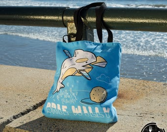 Brie Willy Tote Bag - PUN PANTRY food, cheese, movie, 90s, funny, humor, pun, joke, music, hipster, tote, bag, Instagram, beach, whale