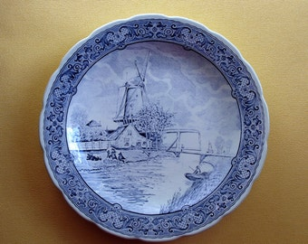 "Royal Sphinx Boch Delft Plate / Blue Large Platter / Plate / Serving Dish / Charger / Wall Plaque / Dish / 12"" / Boch Delfts / Blue & White"