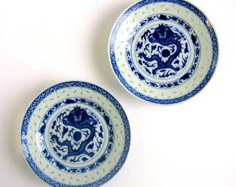 """Antique / Chinese / Wan Yu / Dragon Rice Grain Porcelain Plate / Set of 2 / Dragon With Pearl & Flames / 5 Claw Dragon / Hand Painted / 6"""""""