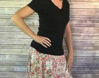 Delilah - Peach/Ivory/Gray,  Skirt, Pencil Skirt, A-Line Skirt, Circle Skirt, Maxi Skirt, Sew Maude