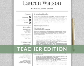 Teacher Resume Template For Word / Teacher CV Template | Teaching Resume  Template | Resume For  Resume Template For Teachers