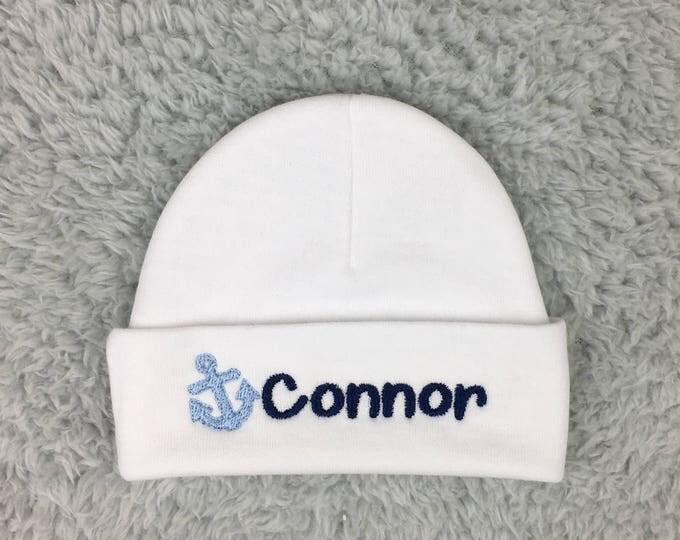 Monogrammed baby hat with anchor - micro preemie, preemie, newborn - nautical baby shower gift, preemie gift, NICU clothes, baby photos