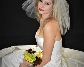 "Plain Double Tier 18"" Flyaway Wedding Veil with Cut Edge"