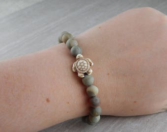 Natural Silver Mist Green Jasper Matte Sea Turtle Bracelet | Sea Turtle Bracelet | Charitable Cause | Beach | For Her | For Him | Gift