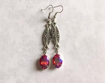 Art Deco Earrings, Art Deco Jewelry, Art Deco Earrings Silver, Silver Earrings, Pink Earrings, Pink Vintage Earrings, Gift for her under 25